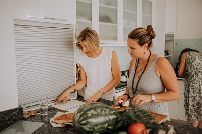 Emily Perrier, Yoga teacher, and Sarah Grant, nutritional therapist and wellbeing coach